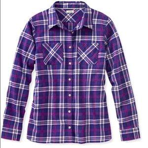 L.L. Bean Purple Plaid Freeport Flannel Shirt